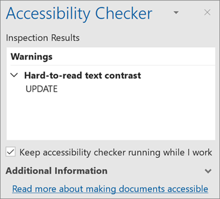 Accessibility checker in Outlook