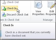 SharePoint ribbon with cursor pointing to the Check in icon
