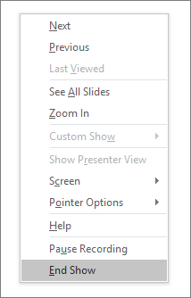 Shows the end show option in PowerPoint