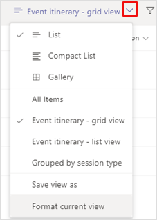 Switch view options menu