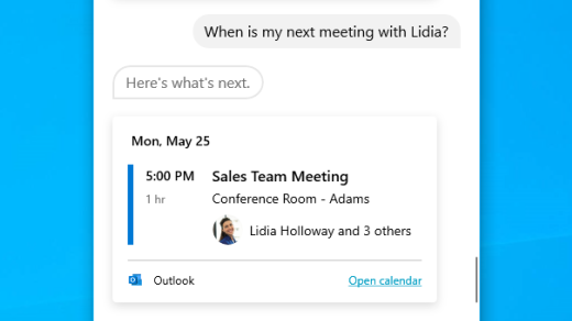 Get info on your next meeting with Cortana in Windows