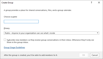 Create a new group with usage guidelines link