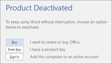 Screenshot showing the Product Deactivated error message