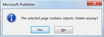 You'll receive this warning if you try to delete a page containing content.