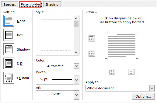 Add change or delete borders from documents or pictures office word 2010 page border tab of borders and shading dialog box ccuart Gallery