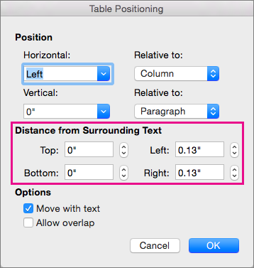Set the space between the selected table and body text under Distance from surrounding text.