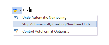 The Numbering options are shown in AutoCorrect.