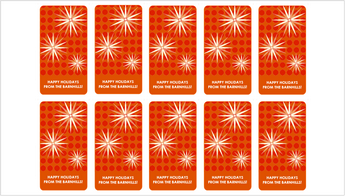 Ten red holiday gift tags with a modern snowflake design