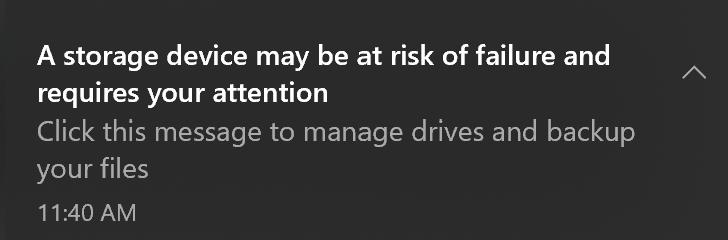 Critical alert message