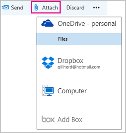 Attachment option in post-upgrade Outlook.com