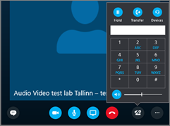 Screenshot showing the audio keypad