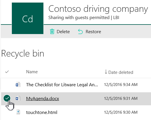 SharePoint Online recycle bin with item highlighted