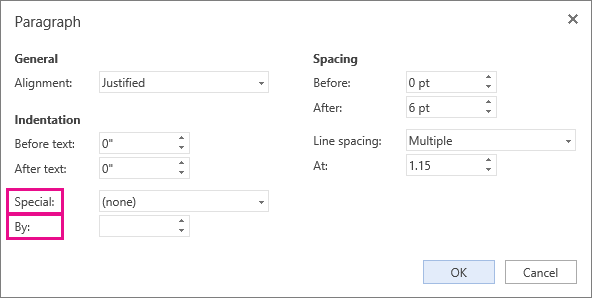 Select a type of indentation from the Special list, and then set the measurement in By.