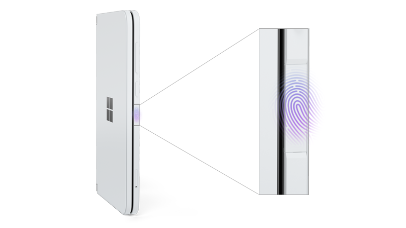 Surface Duo with fingerprint reader called out