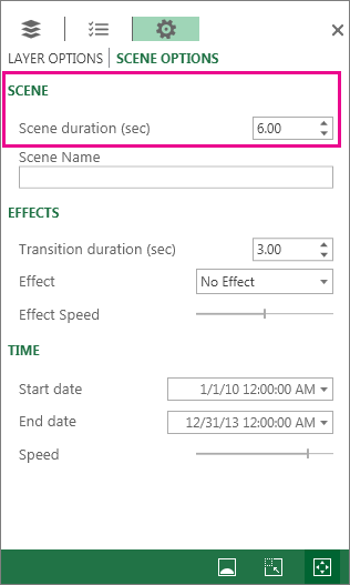 Setting the duration of a scene or tour