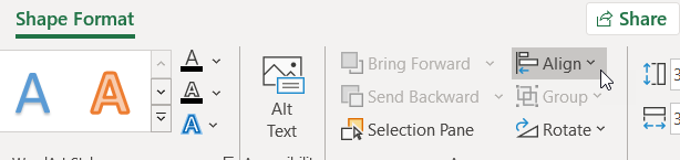 Align command on the Shape Format tab