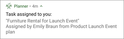 Screen capture: Showing the planner push notification that is sent on mobile phones and devices.