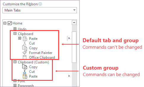 Custom group of commands