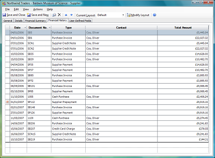 financial history tab on supplier form
