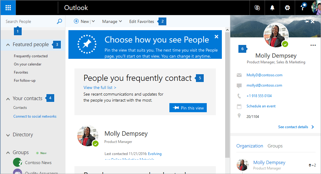 A screenshot of the People page.