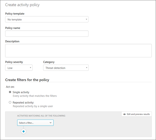 You can create activity policies with Office 365 Cloud App Security.