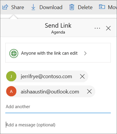 Share files dialog box in OneDrive with email addresses added