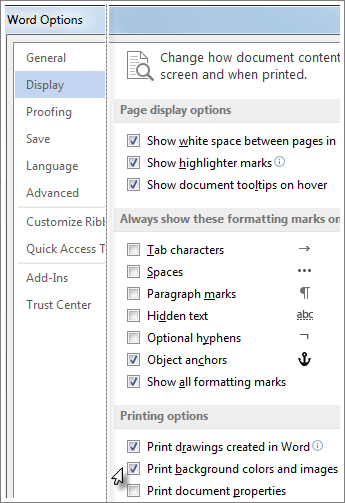 The Print background colors and images check box in the Word options dialog box