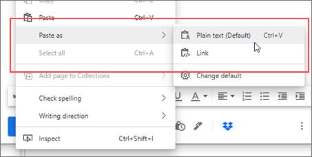 Context menu for enhanced copy and paste