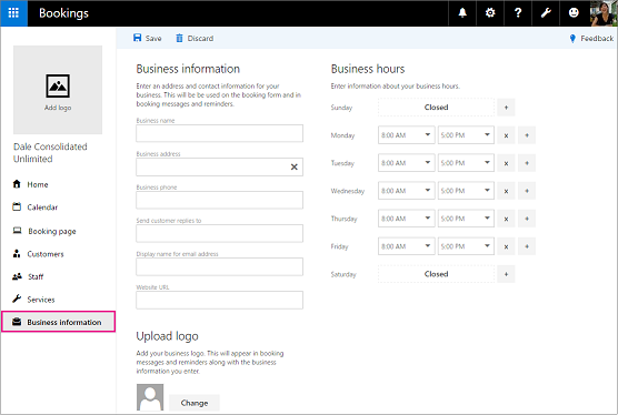 Business Information page in the Bookings app