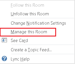 Screenshot of dropdown list with manage this room selected