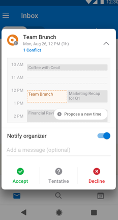 Team brunch calendar event with Propose New Time button