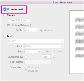 No watermark is selected in the Insert Watermark dialog box