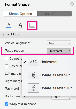 Text direction is highlighted in the Format Shape pane.