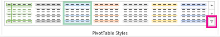 More button in the PivotTable Styles gallery