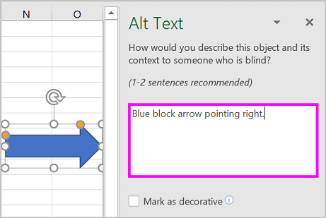 The Alt Text pane and an example alt text for an arrow shape.