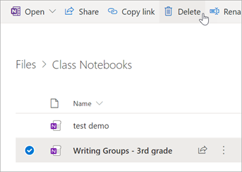 Select the Class Notebook you'd like to Delete, then select Delete.