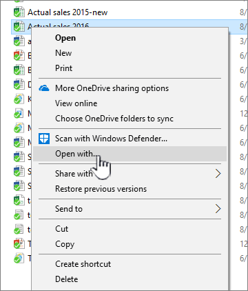 Context menu with Open With selected.