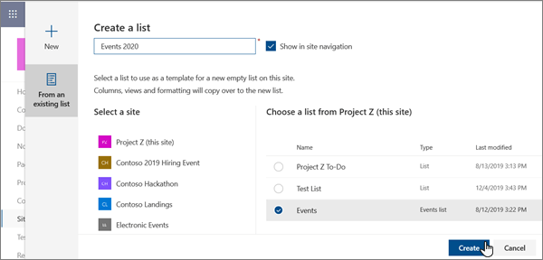 Creating a list from an existing list in the modern SharePoint experience