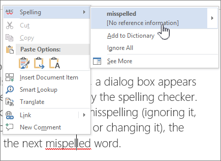 Using right click menus to correct spelling