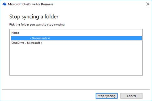 OneDrive for Business - stop sync dialog