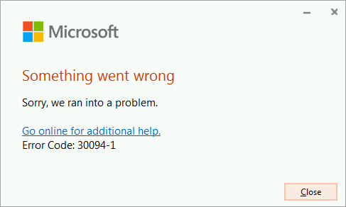 Error code 30094-4 installing Office