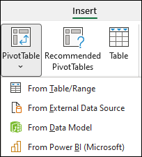 "Insert PivotTable dropdown showing ""from Power BI"" option."