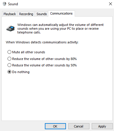 "The Communications tab of the Sound Control Panel has four ways for Windows to handle sounds when you're using your PC for calls or meetings. ""Do nothing"" is selected."