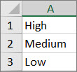 Create a list from high to low in a range of cells