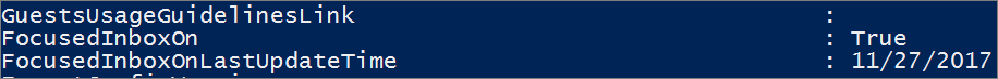 Response from PowerShell on state of Focused Inbox.