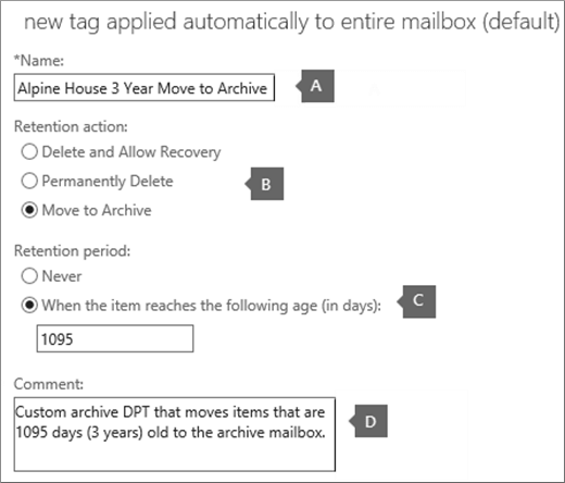 Settings to create a new archive default policy tag
