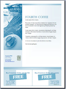 Flyer with cut-out coupons, created in Microsoft Office Publisher 2007