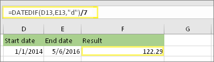 "=(DATEDIF(D13,E13,""d"")/7) and result: 122.29"