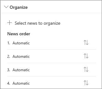 Organize news section
