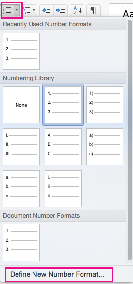 On the Home tab, the Numbering icon and Define New Number Format are highlighted.